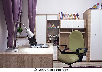 modern, tanul, szoba