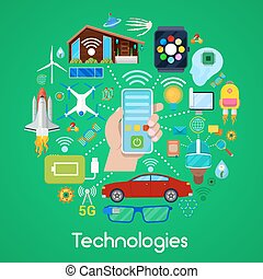Modern Technologies Vector Icons Set with Smart House and Quadrocopter