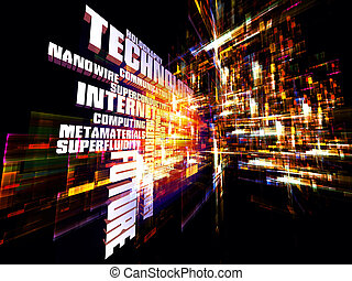 Interplay of words and forms in three dimensional space on the subject of Internet, modern and future technologies, communications and computing