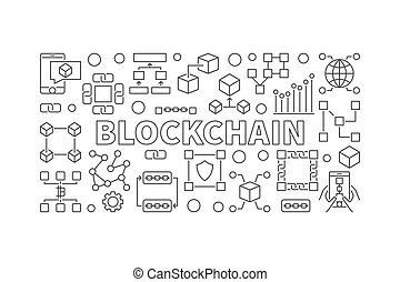 Modern technology banner made with block chain icons and word BL