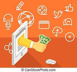 Modern technology business. Social media concept