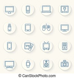 Modern technology devices icons set
