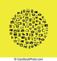 modern technology icons in circle
