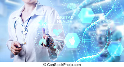 Modern technology in healthcare, medical diagnosis. Digital health concept.