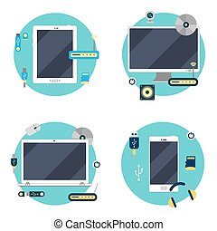 Modern Technology: Laptop, Computer, Tablet and Smartphone. Icons Set. Vector illustration