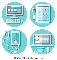 Modern Technology: Laptop, Computer, Smartphone, Tablet and Accessories. Icons Set. Vector illustration