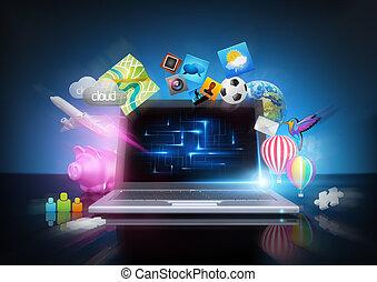 Modern Technology - media notebook concept.