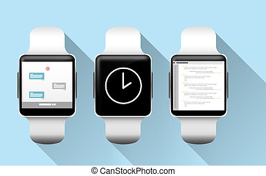 close up of smart watches with applications
