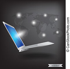 Modern technology thin laptop with social network. Vector Illustration.