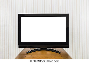 Modern Television on Wood Table with Cut Out Screen