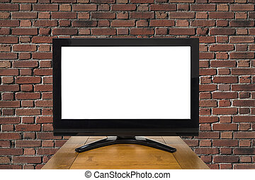 Modern Television with Red Brick Wall and Cut Out Screen