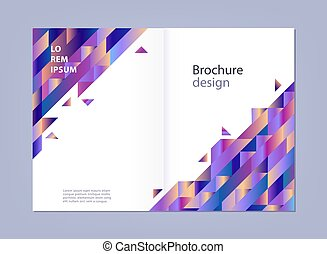 Modern template for business brochure or promotional poster with abstract gradient geometric shapes.