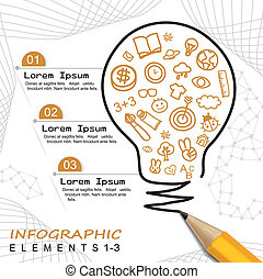 modern template infographic with pencil drawing a bulb
