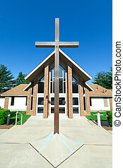 modern, templom, egy, keret, nyeregtetejű, tető, fém, kereszt