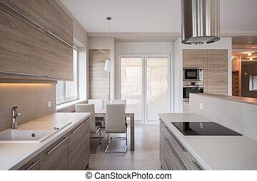 modern, tervezés, fényűzés, konyha