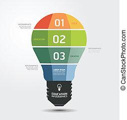 modern, tervezés, fény, minimális, mód, infographic, sablon,...