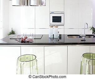 modern, tervezés, kitakarít, belső, fehér, konyha