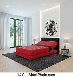 modern, tervezés, tágas, hálószoba