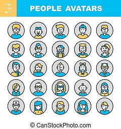 Modern Thin Contour Line Icons set of people avatars for,