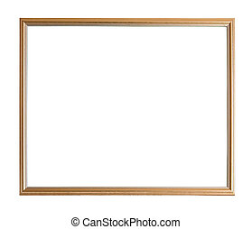 Modern thin gold picture frame, isolated with clipping path