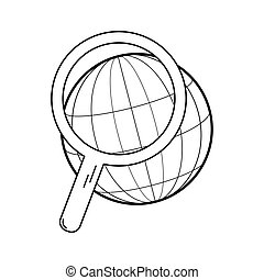 Modern thin line icon. Globe under a magnifying glass. Search on the internet. Simple mono linear pictogram.