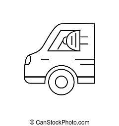 Modern thin line icon of Electric car. Premium quality outline symbol. Simple mono linear pictogram, drawing, art, sign. Stroke vector logo concept for web graphics.