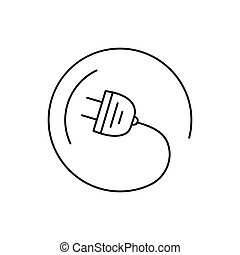 Modern thin line icon of electric plug. Premium quality outline symbol. Simple mono linear pictogram, drawing, art, sign. Stroke vector logo concept for web graphics.
