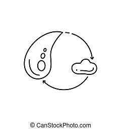Modern thin line icon of water drop. Premium quality outline symbol. Simple mono linear pictogram, drawing, art, sign. Stroke vector logo concept for web graphics.