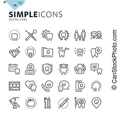 Modern thin line icons of dental care and dentist services. Premium quality outline symbol collection for web and graphic design, mobile app. Mono linear pictograms, infographics and web elements pack