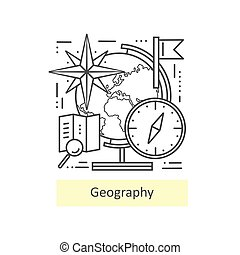 Modern thin line icons of geography. - Modern thin line ...