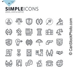 Modern thin line icons of law and lawyer services. Premium quality outline symbol collection for web design, mobile app, graphic design. Mono linear pictograms, infographics and web elements pack.