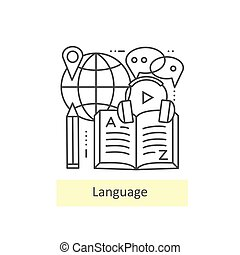 Modern thin line icons of learning foreign languages.