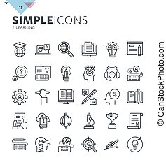 Modern thin line icons of online education and e-learning....