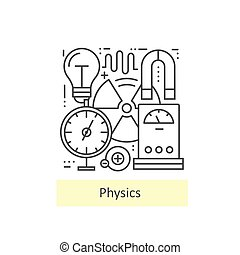 Modern thin line icons of physics.
