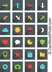 Modern thin web icons collection