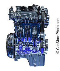 Modern three cylinder downsizing car engine cross section