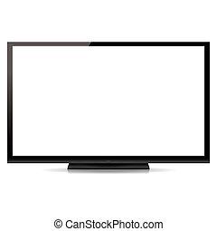modern, tiszta, lapos ellenző televízió, elszigetelt, white,...