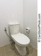Modern Toilet bowl in a men bathroom. - Modern Toilet bowl...