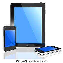 Modern touch screen -i pad and phone - 3d isolated pad and...