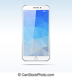 Modern touchscreen smartphone isolated on light background. ...