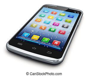 Modern touchscreen smartphone - Modern black glossy business...