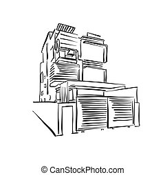 modern townhouse drawing