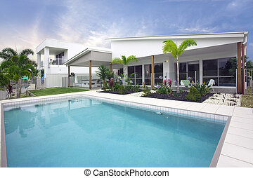 Modern townhouse exterior - pool area modern townhouse