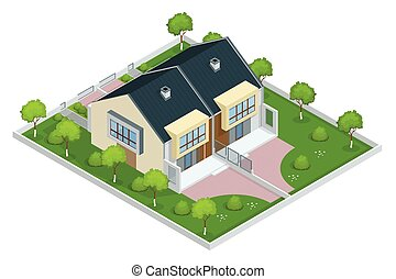 Modern townhouse flat 3d isometric vector illustration. A...
