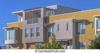 Modern townhouse with flat roof in Daybreak Utah