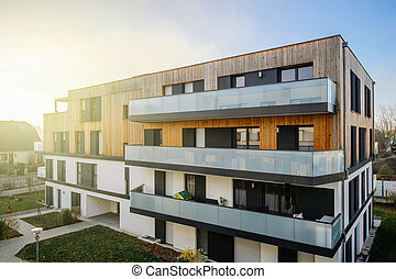 Modern townhouses in a residential area