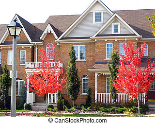 Modern Townhouses - Modern townhouses with bright red autumn...