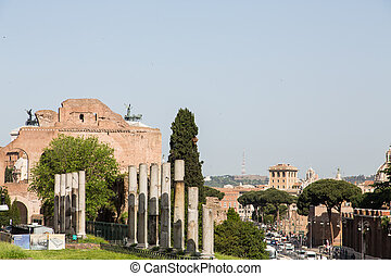 Modern Traffic by Anceint Ruins in Rome