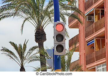 Modern traffic lights with LED lights in red