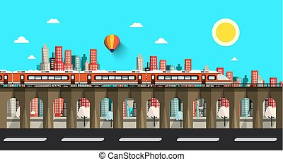 Modern Train in City. Vector Flat Design Town.